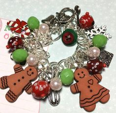 Gingerbread Christmas Charm Bracelet,  altered art,  OOAK,  mixed media jewelry, cooking, cookies, baking - pinned by pin4etsy.com