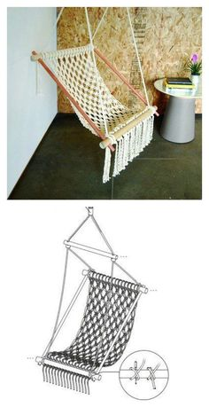 This DIY Hanging Macrame Chair is beautiful and elegant, which lasts for years to come. It complements any setting for cozy resting spot. Macrame Chairs, Macrame Wall Hanging Diy, Macrame Art, Macrame Knots, Macrame Curtain, Diy Hammock, Hammock Chair, Hammock Swing, Hammocks