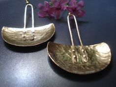 Hammered Bronze Pendulum Earrings Half Disc Metalwork Cold Connection Earrings Contemporary Blade Statement Riveted Earrings