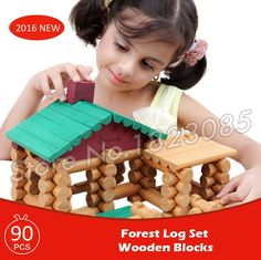 32.99$  Buy here - http://ali3nj.shopchina.info/go.php?t=32687171485 - 90pcs Forest Lodge Creative Assemble Wooden Construction House Set Model Building Blocks Learning Bricks Baby Toys  32.99$ #buyininternet