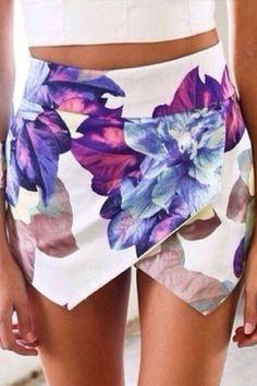 Fashion Printed Elastic Waist Mid Regular Cotton Shorts