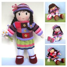 Posy Doll knitting pattern knitted doll Pdf INSTANT by dollytime Knitting Stitches, Knitting Yarn, Baby Knitting, Knitting Patterns, Sewing Patterns, Yarn Dolls, Knitted Dolls, Mary Janes, Doll Shoe Patterns