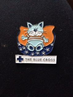 The blue #cross cat pin #badge,  View more on the LINK: 	http://www.zeppy.io/product/gb/2/181892109647/