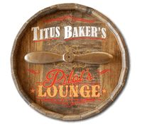 Pilot's Lounge Custom Quarter Barrel Sign, personalized to order in the USA. Personalized Pilot's Lounge Barrel Head Sign Aviation Decor, Airplane Decor, Aviation Fuel, Pub Signs, Wall Signs, Pilot Gifts, Just Relax, Personalized Signs, Wood And Metal