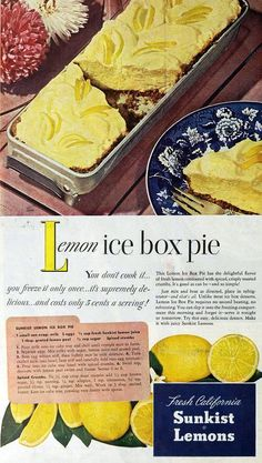 Want a picture perfect summer time recipe? Then you can't go wrong with ice box pie. A truly retro dessert ice box pies date back to the. Retro Recipes, Old Recipes, Lemon Recipes, Cookbook Recipes, Vintage Recipes, Dessert Recipes, Cooking Recipes, 1950s Recipes, Recipies