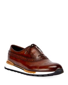 Shop the Berluti collection at Bergdorf Goodman. Browse fine leather shoes and accessories for men. Leather Brogues, Leather Trainers, Leather Sneakers, Calf Leather, Leather Men, Berluti Shoes, Brown Sneakers, Leather High Tops, Adidas Shoes