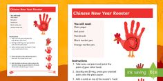 Year of the Rooster Handprint Craft Instructions - Chinese New Year, Celebration, festivals, rooster, chinese new year craft, craft