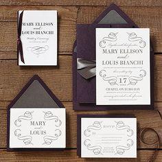 Wedding Invitation Ideas | Paper Source  Love the rich dark purple & grey very elegant!