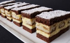 Creamy vanilla cuts with coffee flavor NejRecept. Czech Recipes, Ethnic Recipes, Tiramisu Cake, Chocolate Pies, No Cook Desserts, Graham Crackers, Dessert Bars, Baked Goods, Sweet Recipes