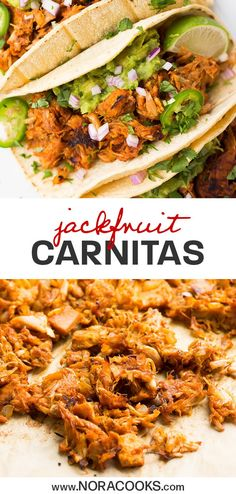 "Jackfruit Carnitas - Tender, crispy, vegan Mexican ""meat"" that is full of flavor. - My list of the best food recipes Vegan Mexican Recipes, Vegan Dinner Recipes, Veggie Recipes, Whole Food Recipes, Vegetarian Recipes, Cooking Recipes, Healthy Recipes, Vegetarian Mexican Food, Gastronomia"