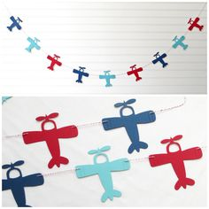 Airplane Garland - 4 inch Airplanes - Airplane Baby Shower Airplane Banner Airplane Party Decor Airplane Birthday Party Baby Shower Banner by FreshLemonBlossoms on Etsy https://www.etsy.com/listing/245850626/airplane-garland-4-inch-airplanes