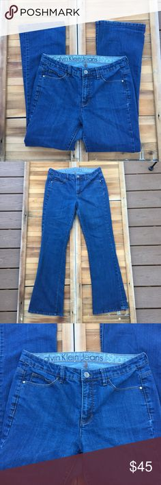Calvin Klein Shape Boot Cut Jeans These shape bootcut jeans from Calvin Klein are in great condition.  The material has some stretch to make a great fit.  Made from a cotton and elastane blend. Approximate measurements lying flat: 30' inseam 20174 Calvin Klein Jeans Boot Cut