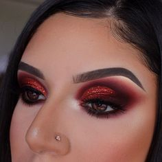 Exceptional Makeup inspiration information are offered on our site. Have a look and you will not be sorry you did. Red Eyeshadow Makeup, Eye Makeup Art, Glam Makeup, Rave Makeup, Fairy Makeup, Mermaid Makeup, Red Glitter Eyeshadow, Glitter Makeup, Red Makeup Looks