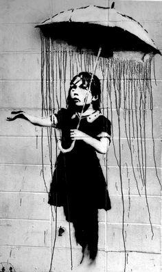 Rain Under The Umbrella Banksy U.K. Street por HotMonkeyGraphics