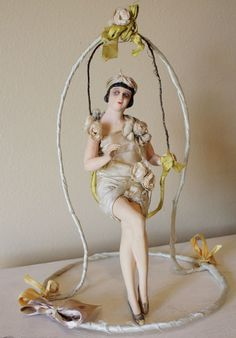 Antique Flapper Doll on Swing Late 1800s.....just gorgeous !!