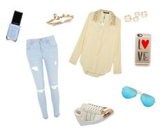 """""""Set"""" by ekaterina-potapova on Polyvore featuring River Island, WithChic, Casetify, adidas, Ray-Ban, women's clothing, women, female, woman and misses"""