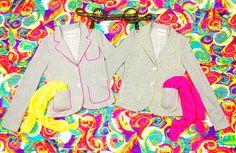 Giacche con dettagli fluo. Cinture pelle con borchie verde e giallo fluo. Made in Italy 34100 nuova collezione primavera estate 2013: sensuale, originale, creativa.