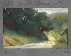 land sketch: old creek road ~ watercolor and gouache ~ by nathan fowles
