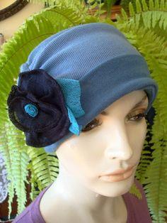 Womens Chemo Hat Set 3 piece Denim Blue by GypsyLoveHeadbands