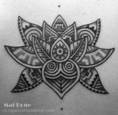 Lovely Aztec inspired Lotus design by Mat Bone. Mayan Tattoos, Viking Tattoos, Mayan Symbols, Celtic Symbols, Dream Tattoos, Body Art Tattoos, Mandala Arm Tattoo, Lotus Tattoo, Art Chicano