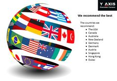 We recommend the best. The countries we recommend: The USA  Canada Australia  New Zealand Germany Denmark Austria Singapore Hong Kong  Dubai #YAxisCareerCounselling