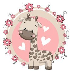 Illustration about Cute Cartoon Giraffe on a pink background. Illustration of card, characters, baby - 65607717 Cartoon Giraffe, Cute Giraffe, Cute Cartoon, Clipart Baby, Illustration Mignonne, Cute Illustration, Cute Images, Cute Pictures, Environmental Crafts