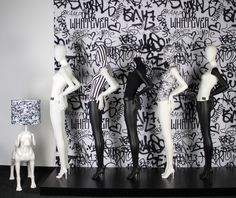 """GENESIS MANNEQUINS, (GRAFFITI),  """"Graffiti is currently one of the top urban trends in young fashion culture"""", pinned by Ton van der Veer"""
