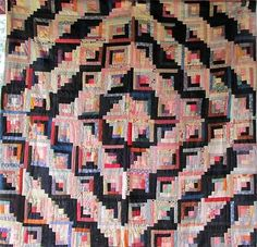 Spectacular Antique Log Cabin Block Vintage Quilt Stunning Fabrics Excellent | eBay