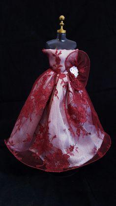 Vestido Renda Vinho #vestido #dress #doll #boneca #barbie #vinho #renda