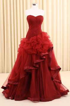 Party Dress A-Line, Prom Dresses 2019, Sleeveless Prom Dress, Red Prom Dress #SleevelessPromDress #PromDresses2019 #PartyDressALine #RedPromDress