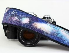 Galaxy Camera Strap, No. 23, Hand painted, dSLR or SLR, Cosmos, Nebula, OOAK. $38.00, via Etsy.