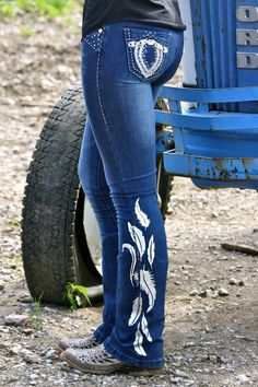 Dynasty Equine - DENIM JEANS WITH SILVER FEATHERS, $55.00 (http://stores.ranchdressn.com/denim-jeans-with-silver-feathers/)