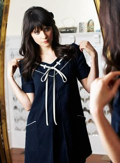 Zooey Deschanel in perfect navy dress - too cute!