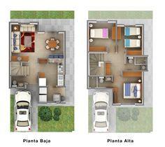 Planos de Casas y Plantas Arquitectónicas de Casas y Departamentos: Plano arquitectónico de residencia de dos plantas con 3 dormitorios