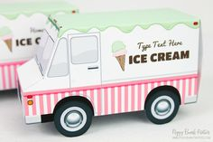Ice Cream Truck Favor Box : Print at Home Full-Color Template | Food Truck Gift Box | Ice Cream Cone | DIY Printable - Instant Download