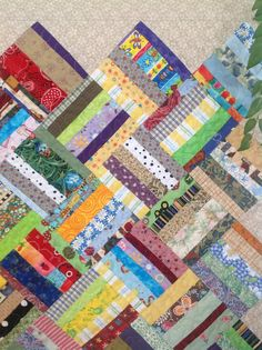 Scrappy strings quilt in basket weave by MarthaDanielsonSews, $180.00