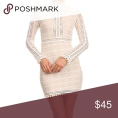 "💝 Host Pick Laced Mini Dress Sale Lace long sleeve mini bodycon dress with mock neck, back cutouts, and fringed hem. Nude lining.  100% POLYESTER. Small measures: chest: 28"", waist:24"", hip:28"" sleeve: 24"" Medium measures waist 26"" hip 30"" Large measures waist 28"" hip 34"" Dresses Long Sleeve"