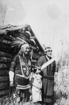 Chief Medicine Man of Chippewa Indians Axel Pasey with His Family