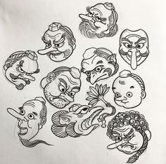 Japanese Art Prints, Japanese Drawings, Japanese Painting, Japanese Illustration, Illustration Art, Tengu Tattoo, Japanese Mythical Creatures, Japanese Demon Tattoo, Japanese Mask