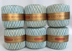 1973-J-P-Coats-Crochet-Thread-6-Balls-Shaded-Blue-Original-Box-Cro-Sheen-NOS-VTG