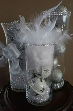 Items similar to Winter Wonderland Wedding Reception Centerpiece Decor Silver Glitter Christmas Bridal Ornaments Feathers Diamonds Ribbon Party Vase Set of 3 on Etsy Winter Wonderland Decorations, Winter Wonderland Theme, Xmas Decorations, Winter Wonderland Christmas Party, Christmas Wedding, White Christmas, Wedding Decorations, Prim Christmas, Scandinavian Christmas