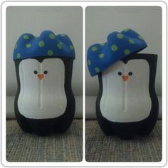 Coke Bottle Penguin Gift Card Holder/Small Present Box... Paint any animal that will work on the bottom half of one coke bottle and make it a hat with the very bottom of another! It's perfect for small presents and gift cards depending on the size of your coke bottles.