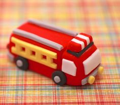 3D Firetruck  Fondant Cupcake  Topper by YourCupcakeStory on Etsy, $15.00