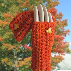 Tangerine Crocheted Fingerless Gloves - Golden Leaves. $25.00, via Etsy.