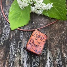 """Wooden Book Pendant """"LOTR"""" - wooden pendant for book lovers with pyrography - wooden necklace, wood burned necklace, wooden pendant"""