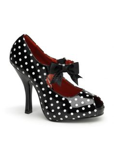 CUTIEPIE-07 | POLKA DOT [PREORDER] Pinup CoutureCUTIEPIE-07 | POLKA DOT [PREORDER] - DIMENSIONS :: 4 1/2  Heel 	MATERIALS :: Made from Patent Polyurethane Material *Vegan Friendly* 	SIZING : Shoes are listed in US Sizing.CUTIEPIE-07 | POLKA DOT [PREORDER]