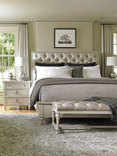Tufted Headboard with Leather bench by Lexington Furniture.