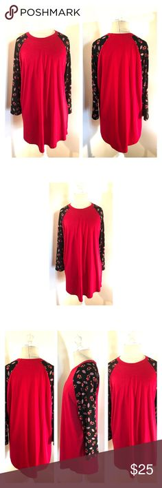 LuLaRoe Randy shirt 2XL NWOT Vibrant red LuLaRoe Randy shirt with black floral sleeves size 2XL. NWOT LuLaRoe Tops