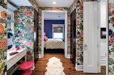 Vanity / dressing area covered in Chiang Mai wallpaper | Photo by Eric Hausman; Interior design by Julia Edelmann / Buckingham Interiors + Design and Marija Stephens