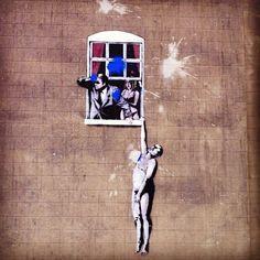 Banksy in Park Street, Bristol. Photo by gncoelho • Instagram